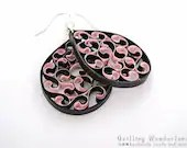 Paper dangle earrings - quilled black and pink earrings