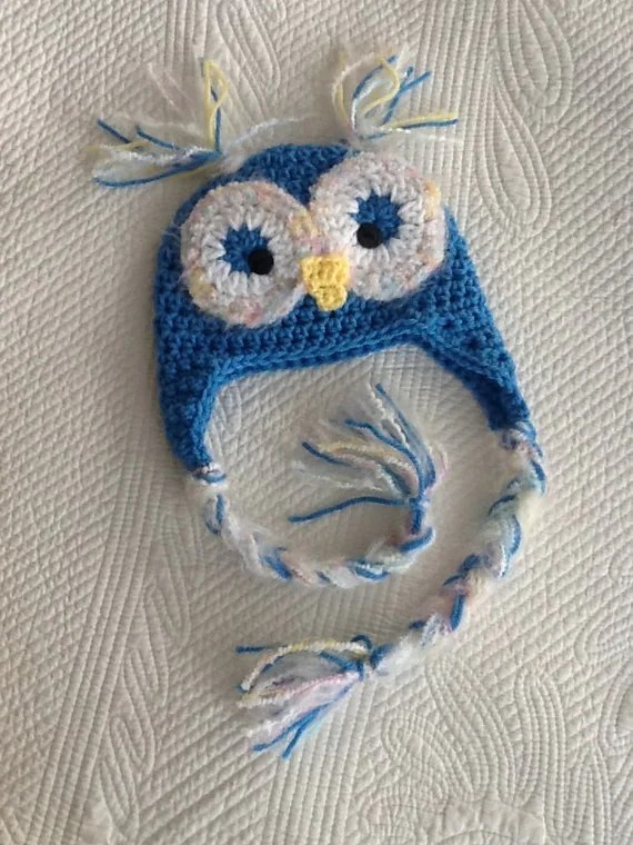 Newborn Owl Hat, Child Animal Hat, Owl Hat, Crochet Baby Hat, Blue Owl Hat, Baby Hat, Newborn Hat, Winter Hat