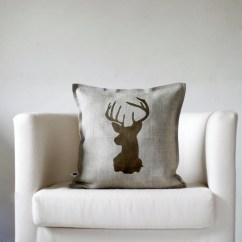 Deer Print Sofa Covers Red Cardiff Gumtree Decorative Pillow Animal Pillows Head