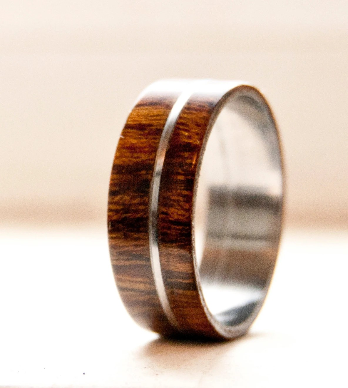 Mens Wedding Band Wood w Metal Inlay Wedding Ring Staghead