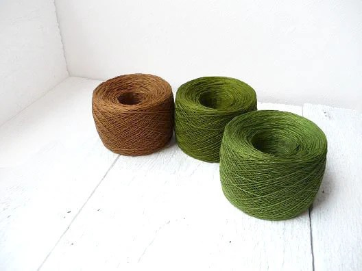 set of 3 balls - woodland green and brown lace weight linen yarn - YarnStories