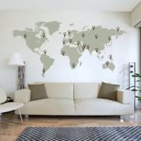 LARGE World Map Wall Decal Sticker 7ft x 3.47ft Vinyl Wall