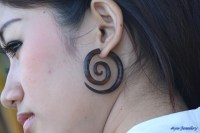Fake Gauge Earrings Rose Wood Spiral Tribal Wooden Earring