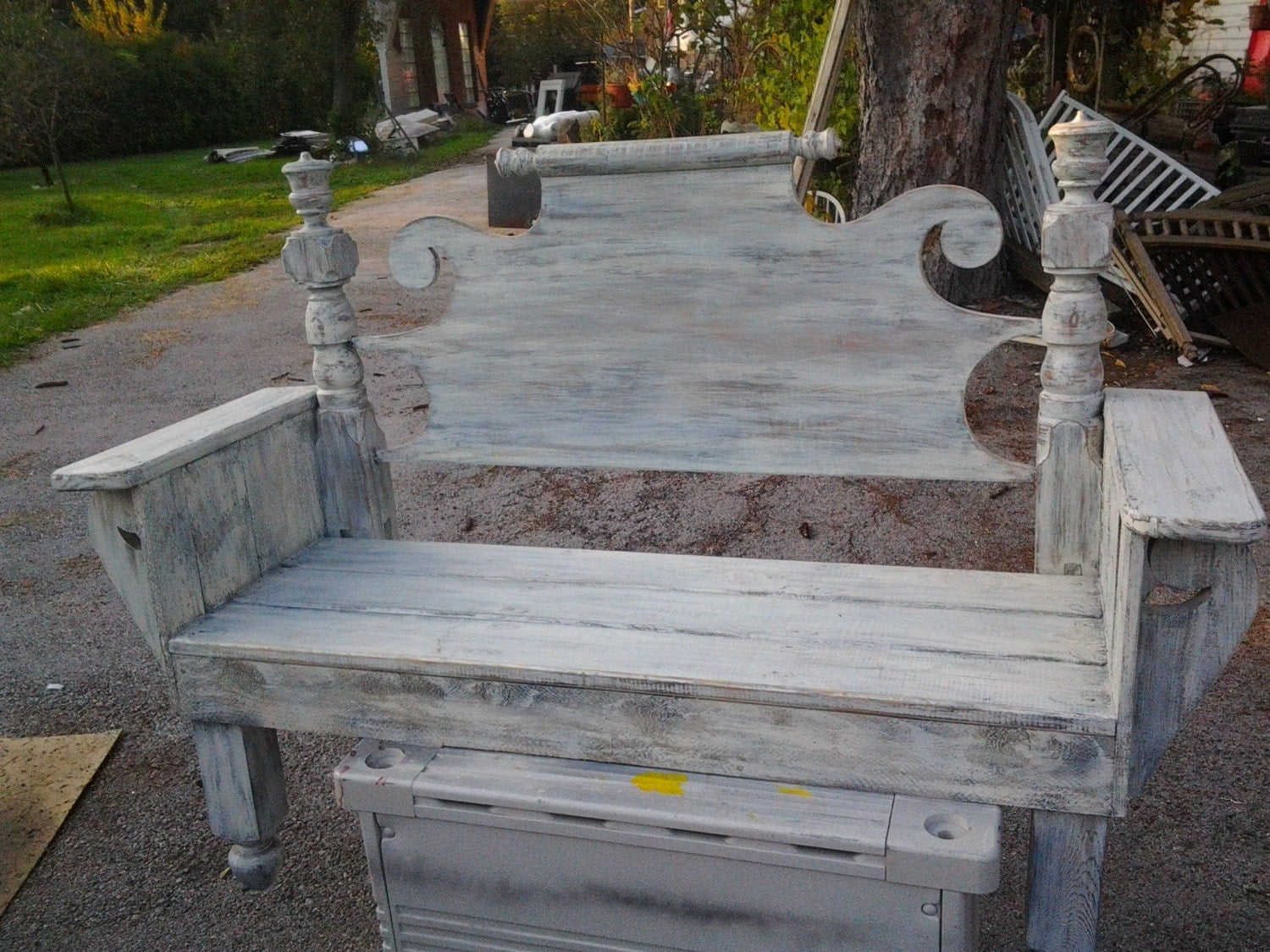 distressed adirondack chairs double with table benches made from headboards shabby chic vintage