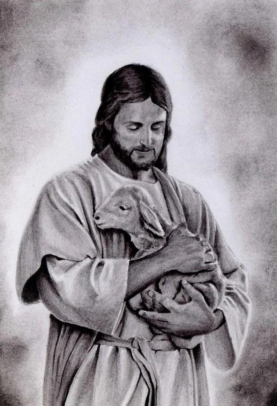 Jesus and lamb portrait miniature drawing original pencil