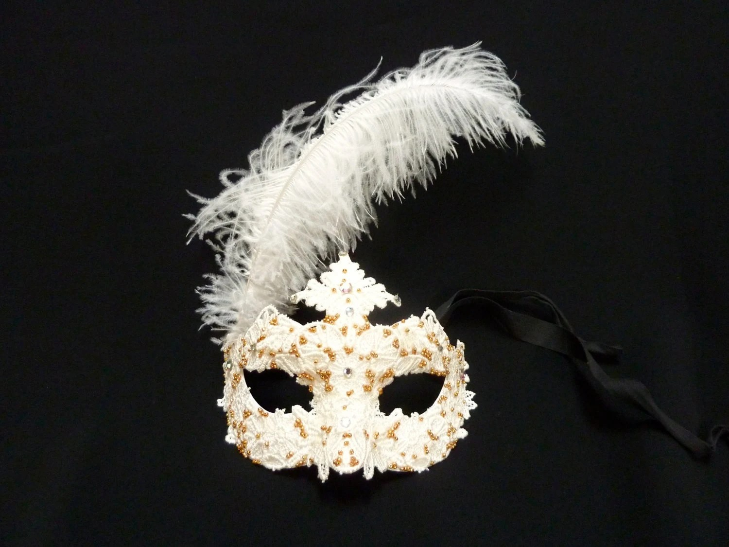 White and Gold Venetian Mask with Brocade Lace and Beads - Mardi Gras Mask - OOAK - TheSeamstressBrunch