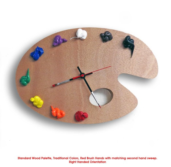 Artist Palette Clock 3d Paint Wood Traditional Ripdntorn