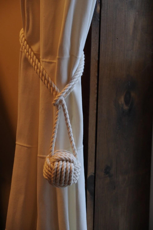 Cotton Rope Curtain Tie Backs Nautical Decor Cottage Chic