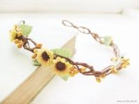 Sunflower wedding hair accessories Yellow flower crown