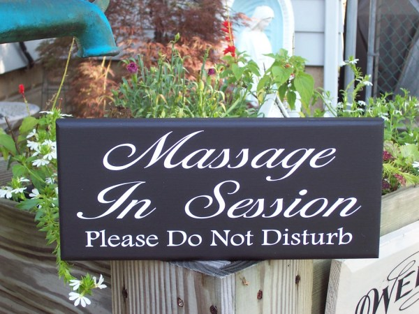 Massage In Session Disturb Wood Vinyl Sign