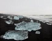 Blue Ice - Landscape Photography, Iceland, Black Sand Beach, Modern Art Print, Water, Ocean, Sea, Winter, Cold, Frozen - EyePoetryPhotography