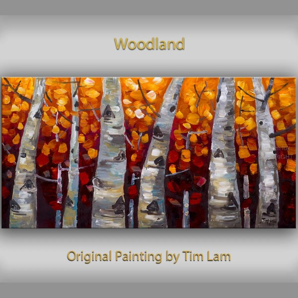 Original Art Abstract Painting Large Oil Aspen Tree