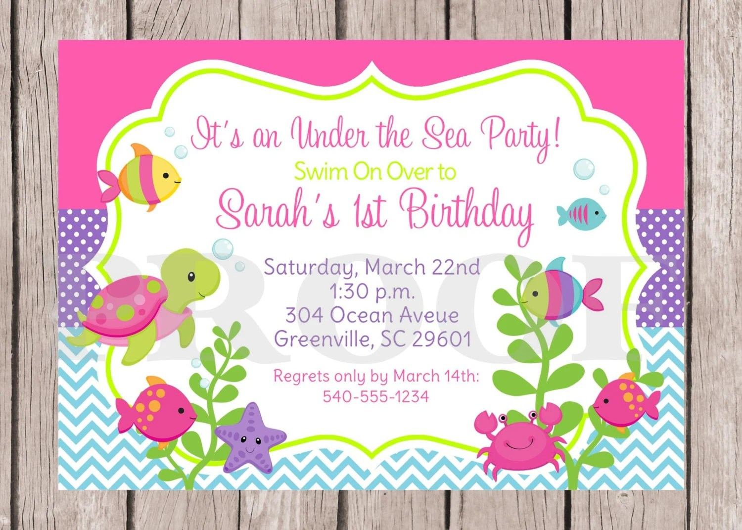 Printable Under The Sea Birthday Party Invitation Under The