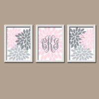 Pink Gray Nursery Wall Art Girl Monogram Decor Baby by ...
