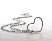 silver heart necklace floating heart pendant necklace rustic heart necklace fine silver sterling silver - theBeadAerie