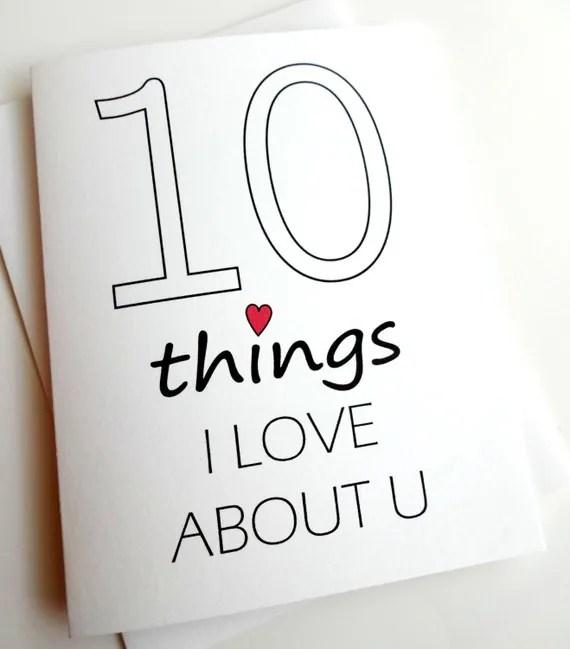 10 Dinge Die Ich An Dir Liebe Karte Jubiläum