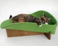 Modern cat bed in avocado cotton damask MADE TO ORDER