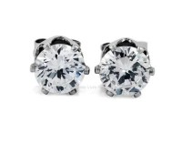Clear Round CZ Magnetic Clip On Stud Cuff Earrings For Men and