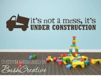 Wall Decal boys room Under Construction dump truck large