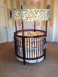 Custom Round Crib Bedding Blue Yellow and Cream Made To Order