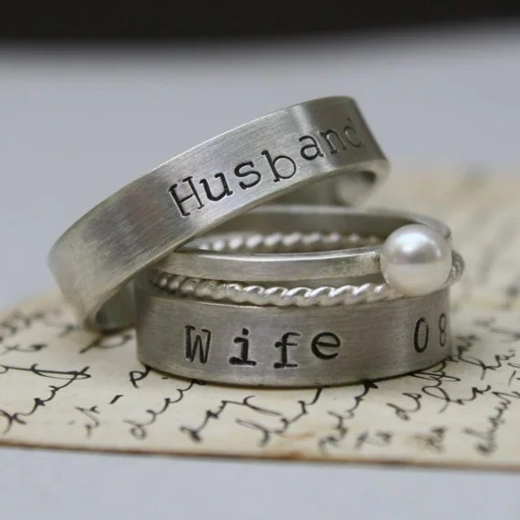 Wedding Bands Sterling Silver Personalized Husband And Wife