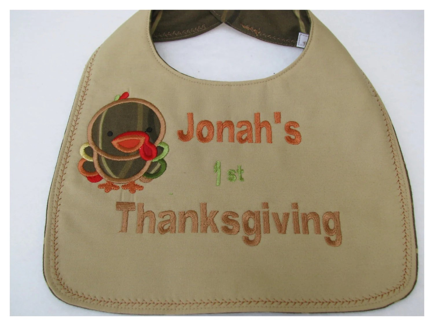 Personalized First Thanksgiving Bib Embroidered Newborn to 12 Mo - BonJeanCreations