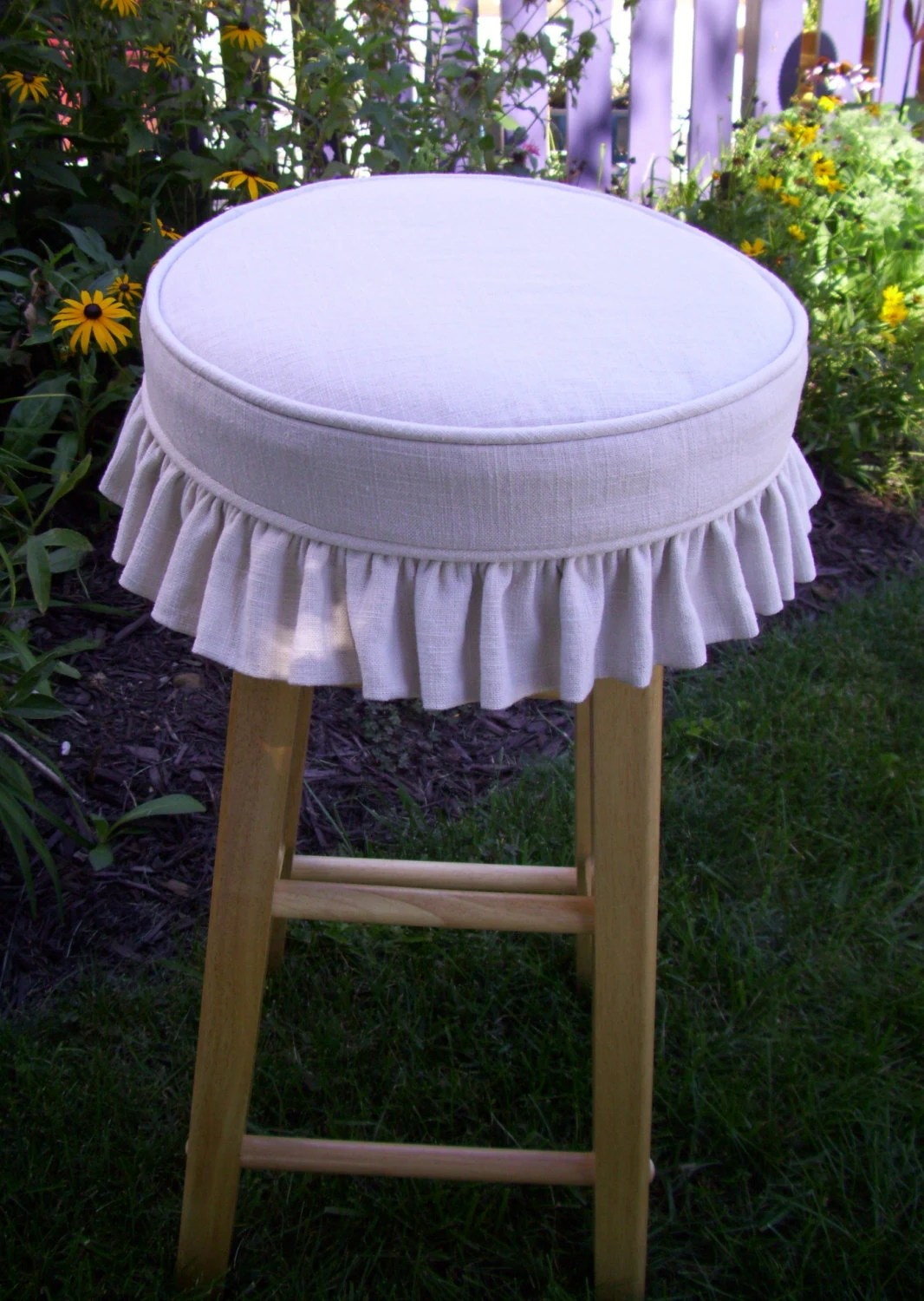 chair and stool covers aluminum folding lawn chairs linen barstool slipcover cushion ruffled skirt bar