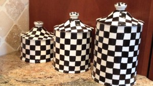 Ceramic Clay Black And White Checkered Canister By