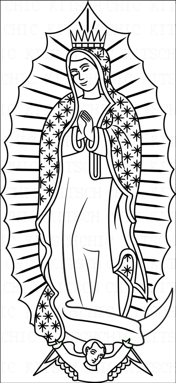 Items similar to Color Your Own Our Lady of Guadalupe