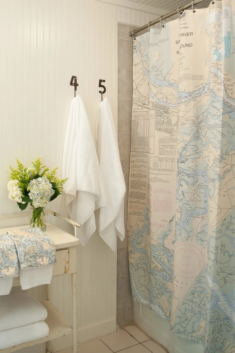 Items Similar To Shower Curtain Savannah Nautical Chart On Etsy