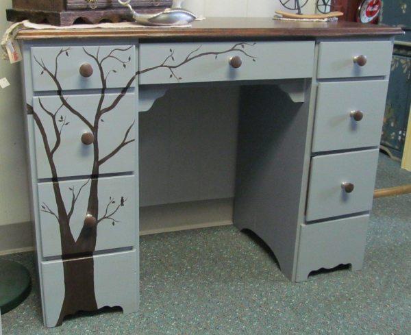 Mid Century Modern Whimsical Rustic Tree Student Desk Vanity