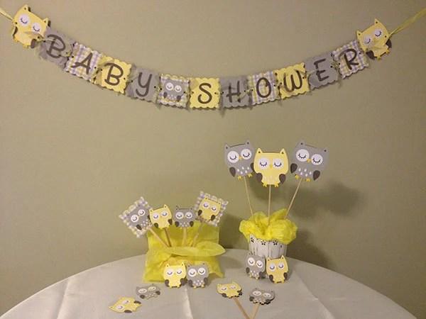 Yellow Gray White Baby Shower
