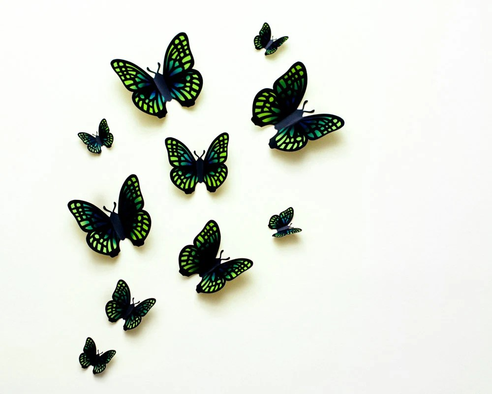 3D wall butterflies: lime green & blue gradient butterfly wall art for nursery, dorm, whimsical home decor - hipandclavicle