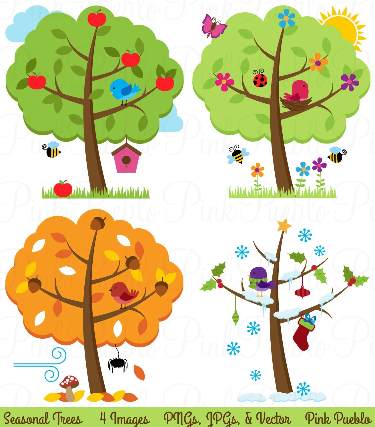 Four Seasons Trees Clipart Clip Art Seasonal Trees And Birds