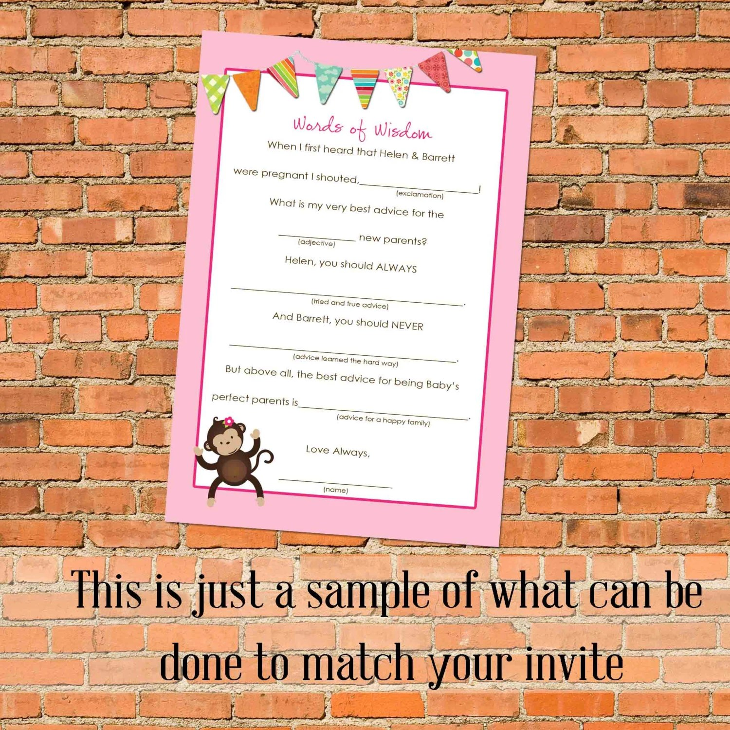 Mad Lib Advice Card To Match Any Design For Baby Shower Or Party Digital Printable File