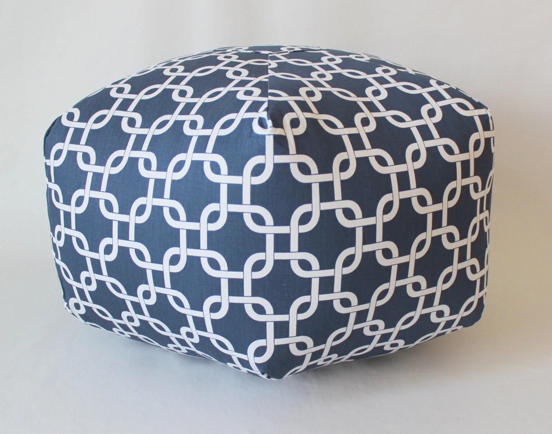 24 Ottoman Pouf Floor Pillow Navy Gotcha Chain