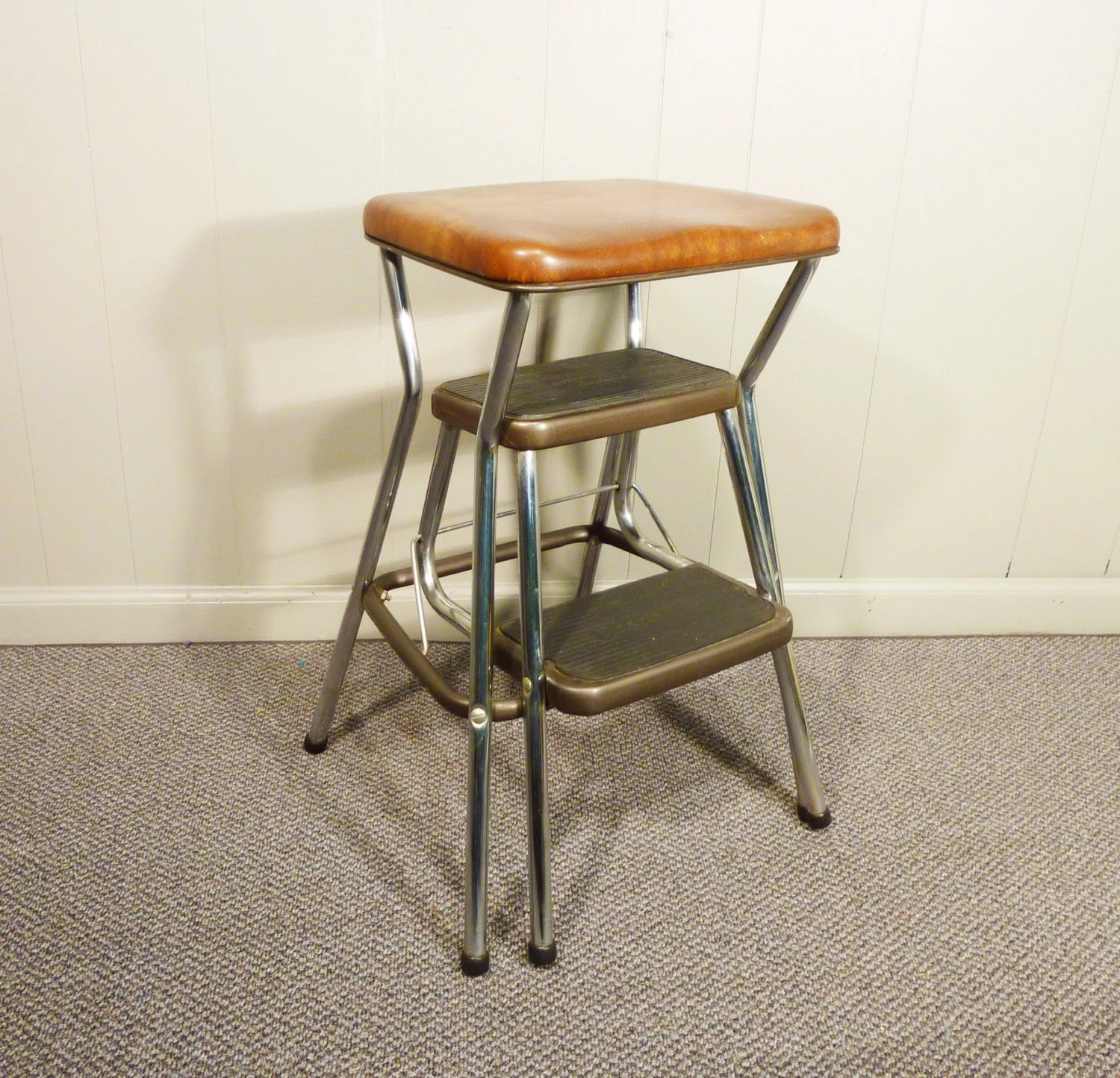 retro chair step stool brown leather computer 50s vintage kitchen cosco
