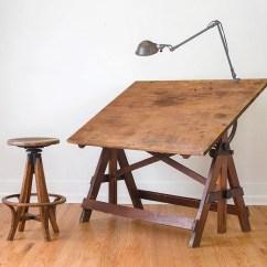 Adjustable Drafting Chair Shower Bench Vintage Industrial Large Keuffel & Esser Table