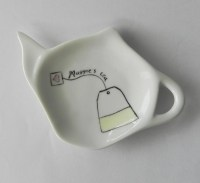 Personalized White Porcelain Tea Bag Holder & Spoon Rest with