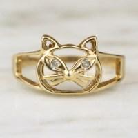 Vintage 10k Gold Diamond Cat Ring