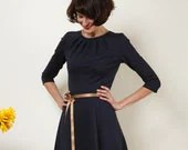 "Dress ""Elisa"", with a round skirt and little falts in navyblue - jekyllundkleid"