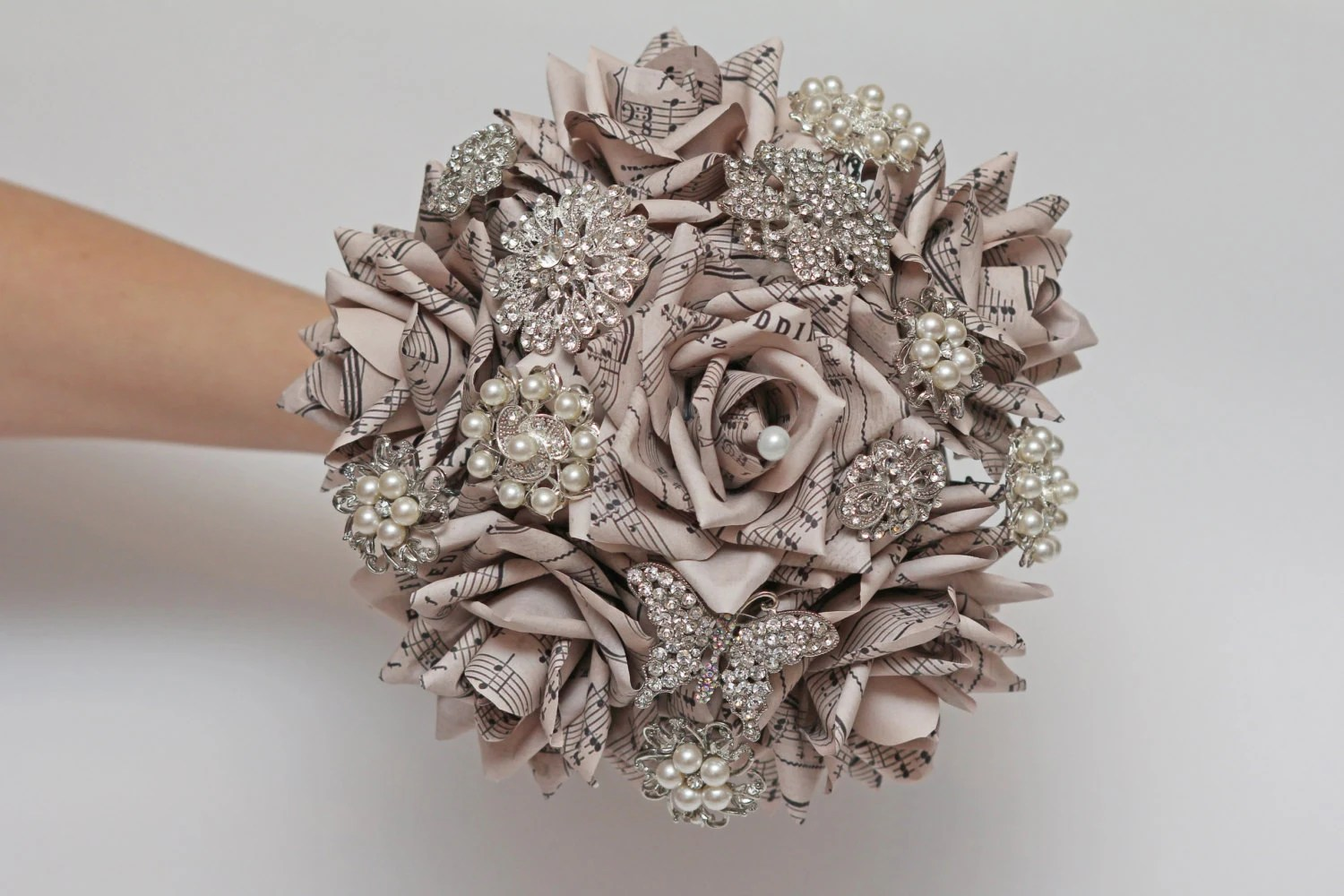 paper flowers and brooch bouquet, broach bouquets, music notes bouquet,