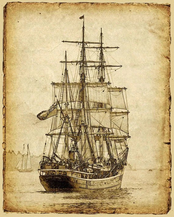 Items similar to Vintage Style Sailing Ship Art