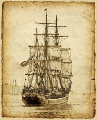 Items similar to Vintage Style Sailing Ship Art ...