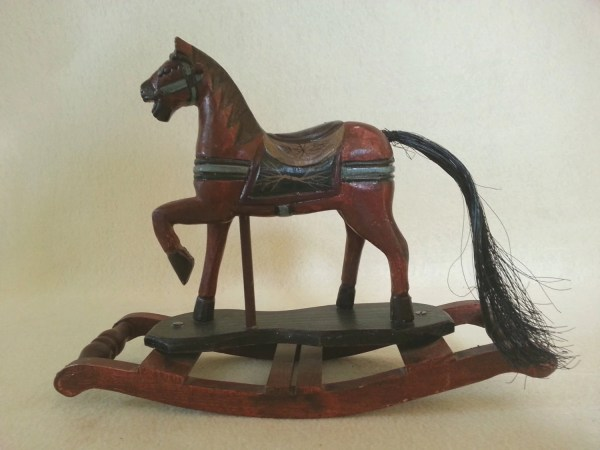 Vintage Wood Rocking Horse Hand Carved And Painted Country
