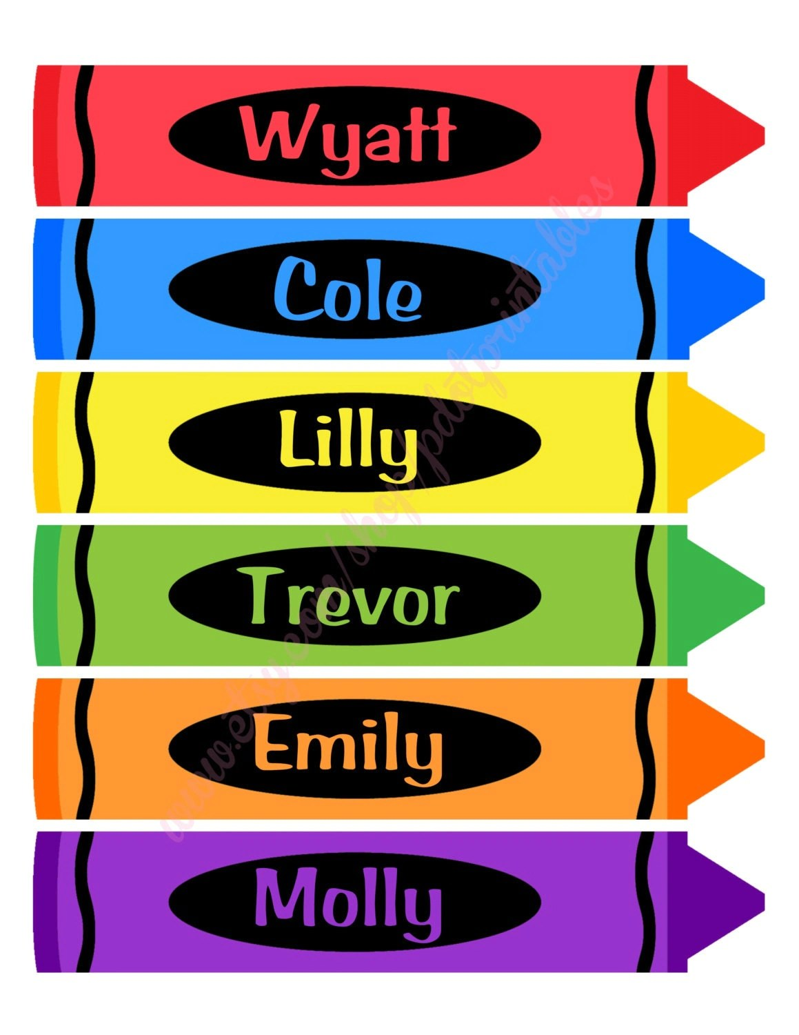 24 Personalized Classroom Crayon Labels Digital Printables