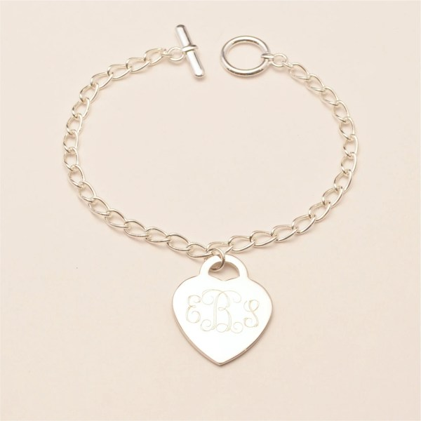 Custom Engraved Monogram Heart Charm Bracelet Personalized