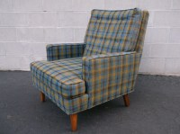 RESERVED A sweet mid century modern plaid and walnut wood