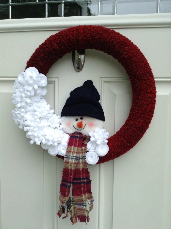 Snowman Wreath Yarn Wreath Felt Flower Wreath Winter