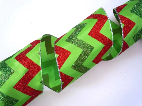 5 Wide Ribbon Wired Christmas Decorations Lime
